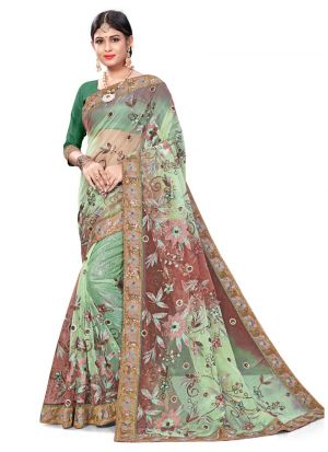 Outstanding Multi Color Color Bemberg Classic Designer Saree