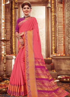 Outstanding Salmon Pink Color Handloom Silk Classic Designer Saree