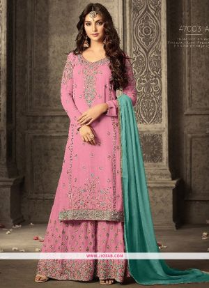 Palazzo Style Baby Pink Embroidered Georgette Indian Salwar Suit