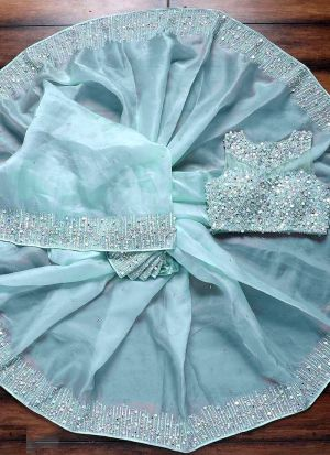 Pale Turquoise Organza Silk Party Wear Saree
