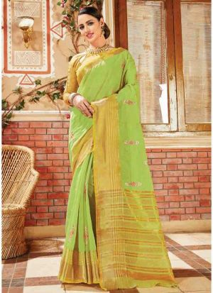 Parrot Elegant Handloom Silk Saree