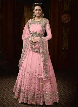 Party Wear Baby Pink Heavy Net Anarkali Style Long Salwar Suit