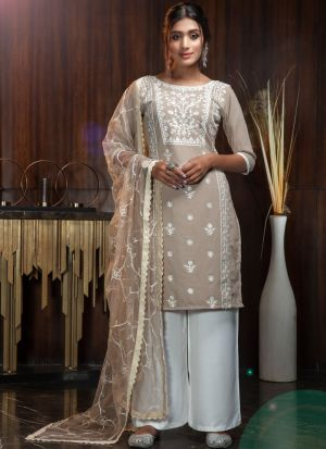 Party Wear Beige Designer Palazzo Suit
