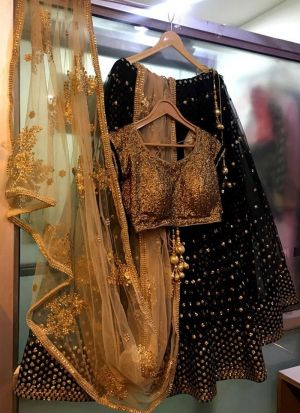 Party Wear Black 60 Gm Georgette Fabric Lehenga Choli
