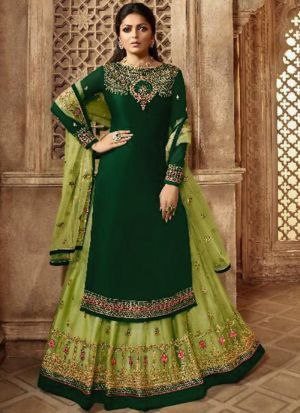 Party Wear Dark Green Satin Georgette Lehenga Style Salwar Suit