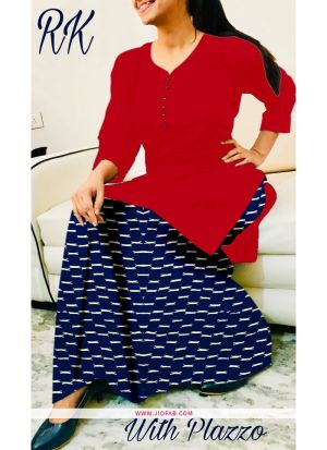 Party Wear Fancy Red Plain Indian Kurti With Palazzo