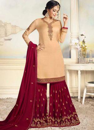 Party Wear Golden Satin Georgette Designer Salwar Suit