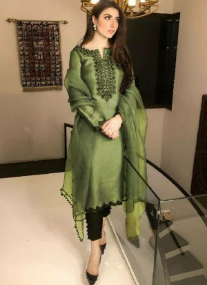 Party Wear Green Thread Work Cracker Silk Salwar Suit