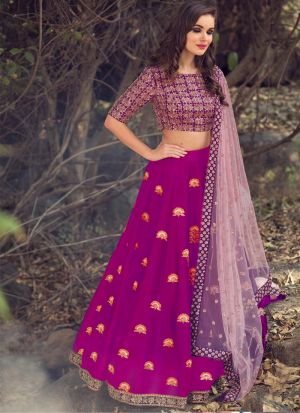 Party Wear Magenta Mono Net Thread Work Lehenga Choli