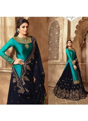 Party Wear Navy Satin Georgette Lehenga Style Salwar Suit