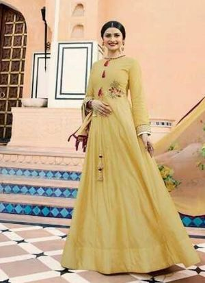 Party Wear Yellow Jenny Silk Designer Salwar Suit