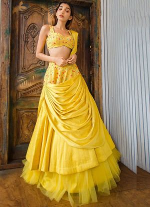 Party Wear Yellow Satin Banglori Thread Work Designer Lehenga Choli