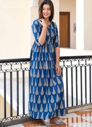 Partywear Designer Blue Pure Muslin Gown