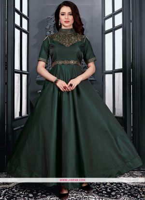 Partywear Designer Dark Green Taffeta Satin Diamond Gown