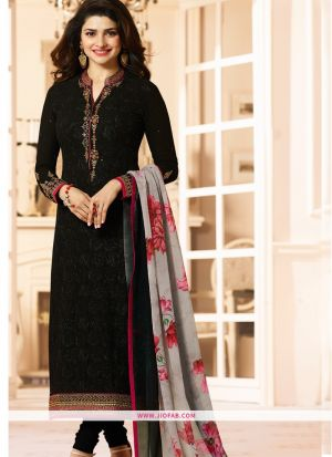 Partywear Designer Embroidered Black Straight Suit
