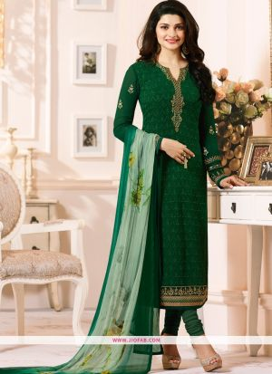 Partywear Designer Embroidered Green Straight Suit