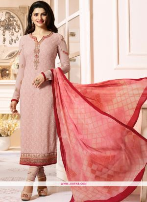 Partywear Designer Embroidered Light Peach Straight Suit