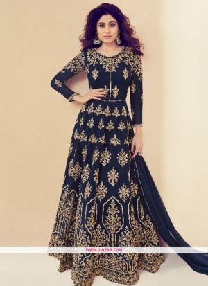 Partywear Designer Embroidered Navy Georgette Partywear Suit