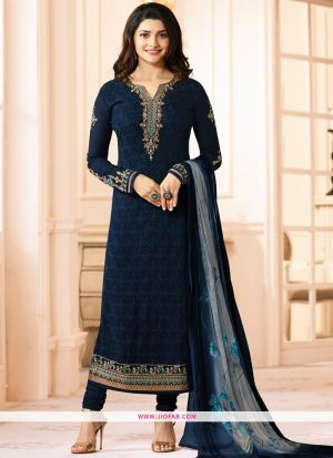 Partywear Designer Embroidered Navy Straight Suit