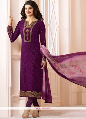 Partywear Designer Embroidered Rani Straight Suit