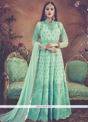 Partywear Designer Embroidered Sea Green Color Foux Georgette Anarkali Suit