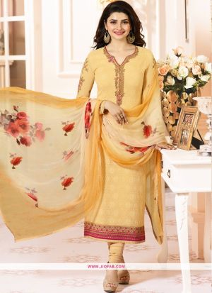 Partywear Designer Embroidered Yellow Straight Suit