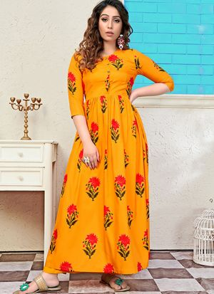Partywear Designer Gold Yellow Digital Print Pure Muslin Gown