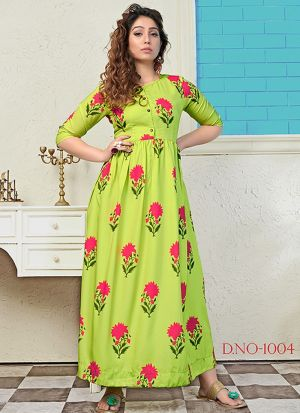 Partywear Designer Green Yellow Digital Print Pure Muslin Gown