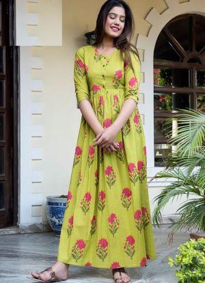 Partywear Designer Green Yellow Pure Muslin Gown