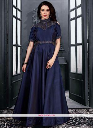Partywear Designer Navy Taffeta Satin Diamond Gown