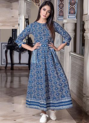 Partywear Designer Steel Blue Pure Muslin Gown