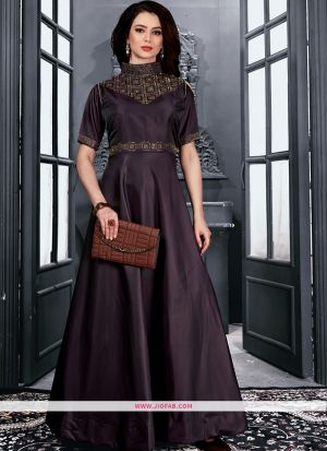 Partywear Designer Wine Taffeta Satin Gown