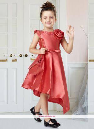 Partywear Frock Design Ideas For Little Girl Dresses In Rouge Color