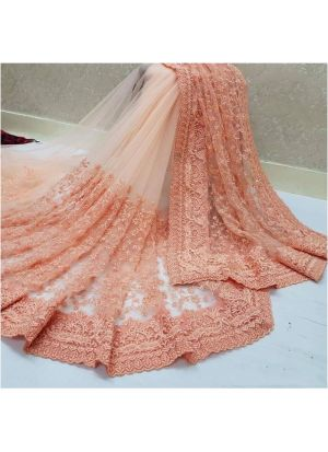 Peach Color New Launching Heavy Nylon Net Saree Collection