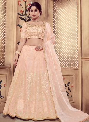 Peach Color Pearl Rubber Foil Work Georgette Designer Lehenga Choli