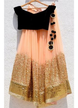 Peach Georgette Beautiful Lehenga Choli