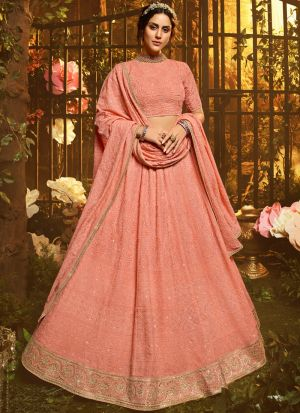 Peach Georgette Sequence Gota Work Indian Lehenga Choli