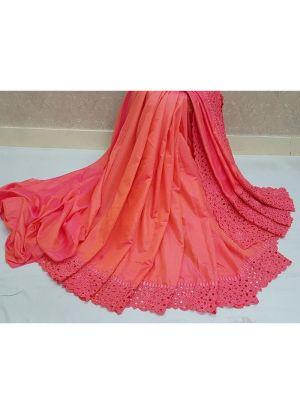 Peach Heavy Embroidery Reniya Cutwork Makhan Malai Silk Wedding Traditional Saree With Blouse