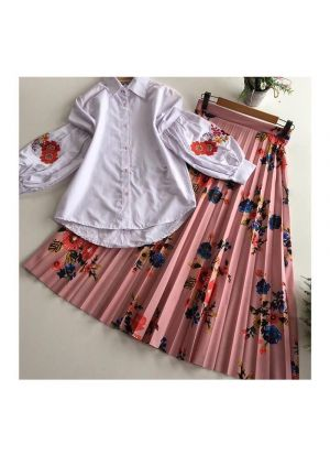 Peach Heavy Line Crease Silk Top With Skirt Set