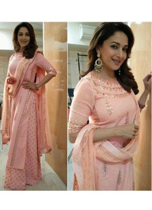 Peach Madhuri Dixit Blush Palazzo Straight Fit Suit