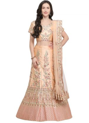 Peach Naylon Satin Traditional Lehenga Choli