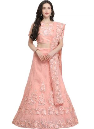 Peach Net Party Wear Lehenga Choli