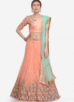 Peach Net Traditional Lehenga Choli