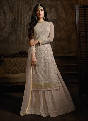 Peach Palazzo Suit For Bridal In Georgette Fabric
