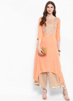 Peach Printed Designer Pakistani Kurti