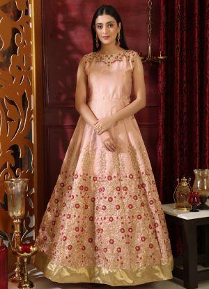Peach Silk Designer Gown