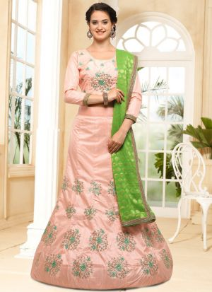 Peach Silk Traditional Lehenga Choli