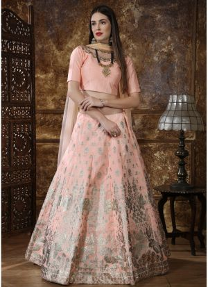 Peach Thai Silk Designer Lehenga Choli