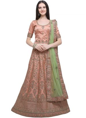 Peach Timo Silk Indian Wedding Lehenga Choli