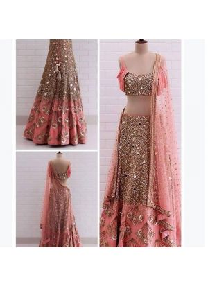 Peach Two Tone Soft Taffeta Silk Designer Lehenga Choli